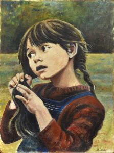 Meisje met vlechten, 1973, olieverf