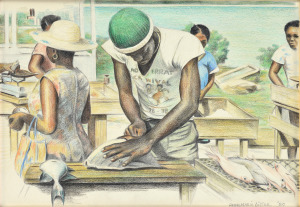 Vismarkt Marigot (Sint Maarten), 1980, Kleurpotlood