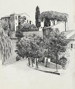Bormes les Mimosas, Zuid-Frankrijk, 1973, pentekening