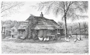 De hut van Mie, Laren, 1997, pentekening