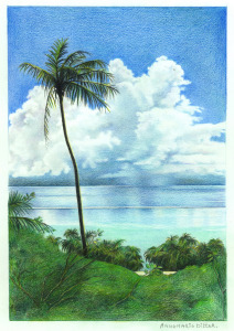 De stillle Zuidzee, 1985, kleurpotlood