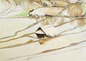 Dessa Tampaksiring, Bali, 1985, kleurpotlood