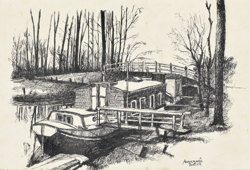 Het woonbootje van Betty en Rob, Hilversum, 1968, pentekening