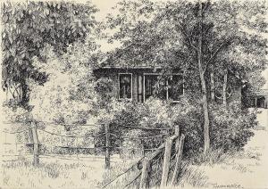 Huisje in Friesland, 1977, pentekening