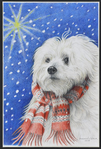 Kerstkaart, 2010, kleurpotlood