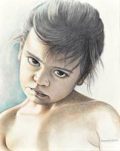 Ketut, Balinees meisje, 1986, kleurpotlood