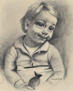 Kinderportret publieksprijs Singermuseum, 1970, potlood