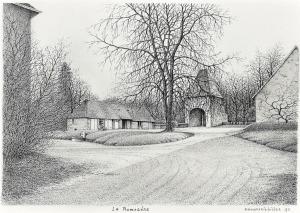 La Romagère, de cour, Saint-Sauvier, Frankrijk, 1993, pentekening