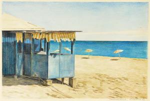 Maho Beach, Sint-Maarten, 1982, kleurpotlood