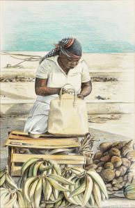 Markt, Marigot Sint-Maarten, 1980, kleurpotlood