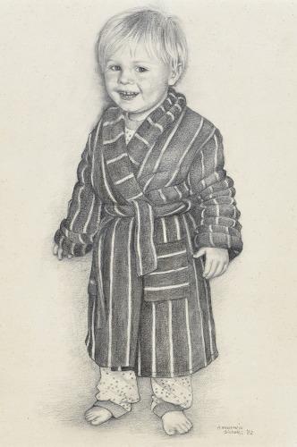 Michiel in zijn ochtendjas, 1982, potlood