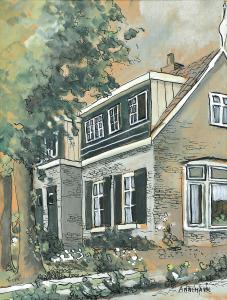 Mijn ouderlijk huis op De Pijl, Laren, 1968, aquarel