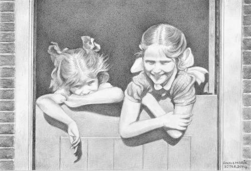 Mijn zusjes Betty en Willie vroeger thuis, 2014, potlood