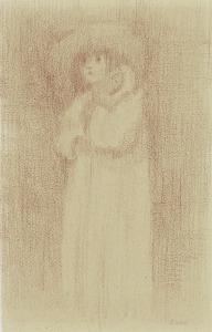 Monique met mijn trouwhoed, 1973, kleurpotlood