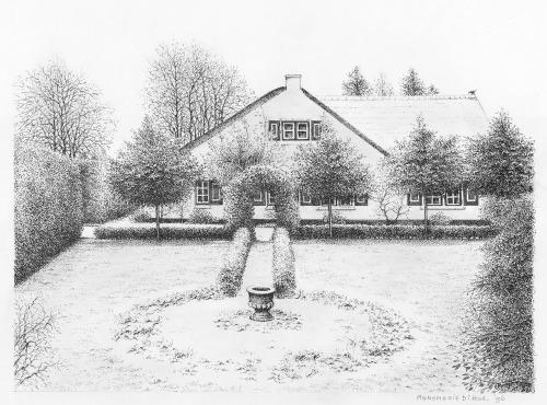 Onze boerderij op het Mauvezand, Laren, 1996, pentekening