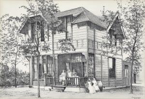 Ouderlijk huis Mariëtte aan de Noodweg, Hilversum, 1978, pentekening