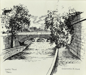 Petit Pont, Parijs, 1969, pentekening