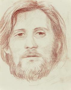 Portretstudie, 1966, potlood rood