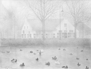 't Bonte Paard in de mist, Laren, 2014, potlood
