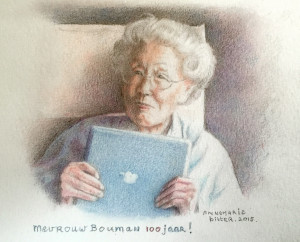 Miniatuur van mevrouw Bouman, 100 jaar, 2015, kleurpotlood